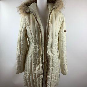 Michael Kors White Cream Parka Fur Hood Jacket M